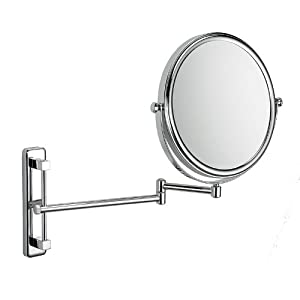 Wall Mounted Adjustable Height Shaving Mirror 5 X Magnification Kitchen Home