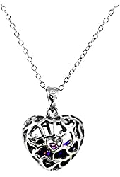 "Rhodium Plated Sterling Silver Purple Amethyst-Simulated Heart Pendant 18"" February Birthstone SPJ"