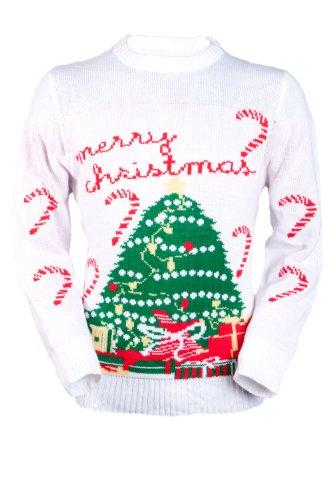 Jingleballz Men's Merry Christmas Canes & Tree Sweater -L White