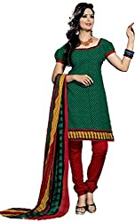 Lovely Look Latest Green Printed Dress Material