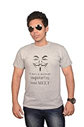 College Jugaad Grey Printed Cotton T-shirt for Men