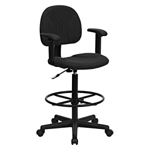 Multi-Functional Ergonomic Drafting Stool with Black Patterned Fabric