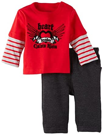 Calvin Klein Baby-boys Newborn Twofer Long Sleeve Tee Heathered and Pants, Red, 6-9 Months