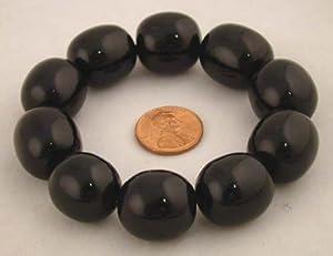 Tibetan Black Resin Amber 10 Beads Bracelet