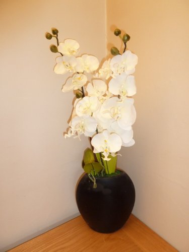 Artificial Orchid Plant - White Orchid Large Plant in a Black Oval Ceramic Plant Pot - House Office Indoor Decoration
