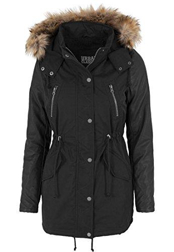 Urban Classics - Jacke Leather Imitation Sleeve Parka, Giacca Donna, Nero (Schwarz), X-Large (Taglia Produttore: X-Large)