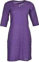 Artisan Women's Cotton Straight Kurta (CZF10037_XL, Blue, XL)