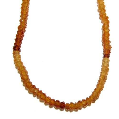Hessonite Necklace 02 Beaded Faceted Yellow Garnet Gemstone Reiki Healing Crystal 18