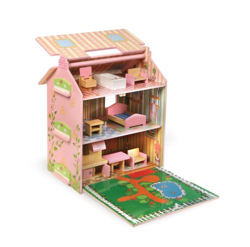 badger basket cottage doll house with furniture pink