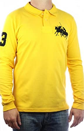 Polo by Ralph Lauren Dual Match Big Pony Homme jaune manches longues, men shirt