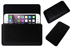 Acm Horizontal Leather Case For Apple Iphone 6 Mobile Cover Carry Pouch Holder Black