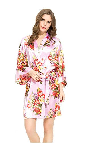 Bridesmaids Robes Floral Wedding Bride by Endless Envy (Pink)