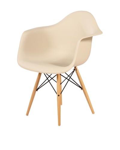 Control Brand Mid Century-Style Eiffel Arm Chair with Wooden Dowel Legs, Beige