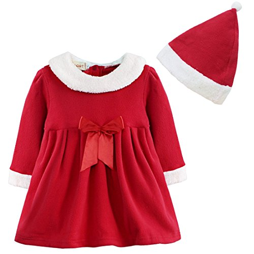 TiaoBug Girls Christmas Santa Claus Bowknot Costume Dress with Hat Outfits (2-3, Red)