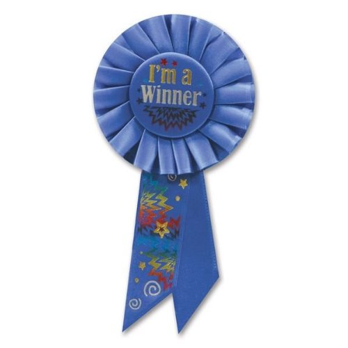 Beistle RS125 I'm a Winner Rosette, 31/4-Inch by 61/2-Inch