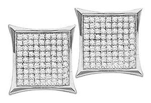 Pricegems 14K White Gold Mens Round Brilliant Diamond Post and Screw Back Pave Set Unisex Medium 0.31
