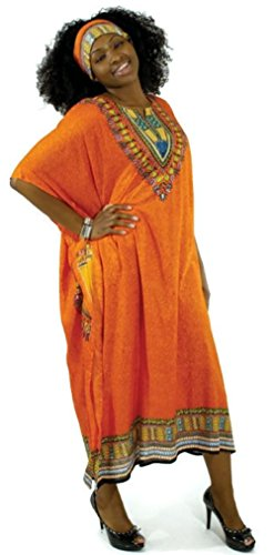 One Size Traditional Kaftan Caftan - Many Colors Available (Orange)