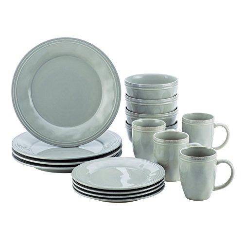 Rachael Ray(r) Cucina Dinnerware 16-Piece Stoneware Dinnerware Set, Sea Salt Grey