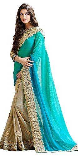 Winza-Designer-Womens-Georgette-Saree-2Light-Blue-and-beigeFree-Size