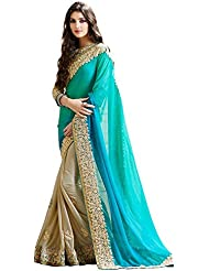Winza Half Half Light Blue & Beige Party Wear Embroidered Georgette Saree For Women ( With Discount And Sale Offer)