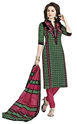 Aarvi Fashion Ethnicwear Women's Dress Material(Green_Free Size)