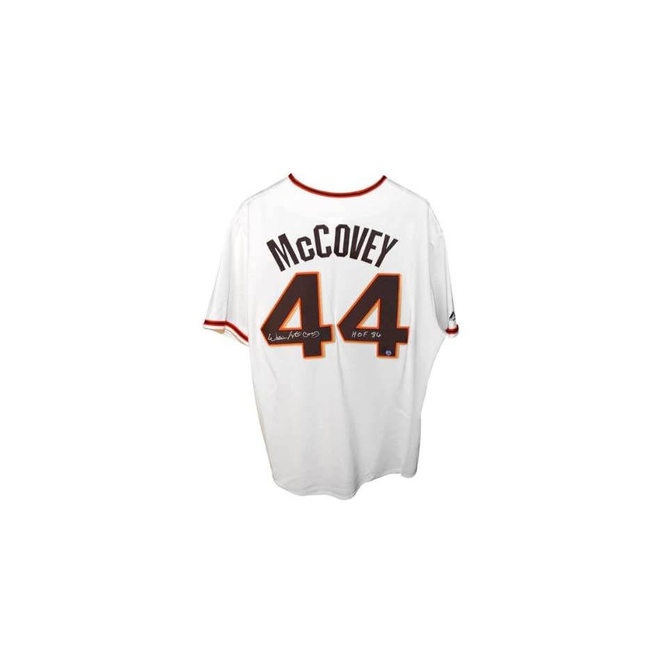 Willie McCovey San Francisco Giants Autographed Cream Colored Majestic Jersey with HOF 86 Inscription