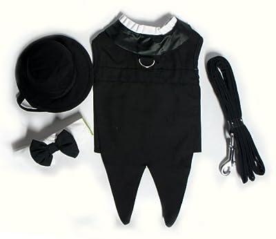 "Dog Tuxedo w/ Formal Tails- Black, Medium (Chest 16-19"")"