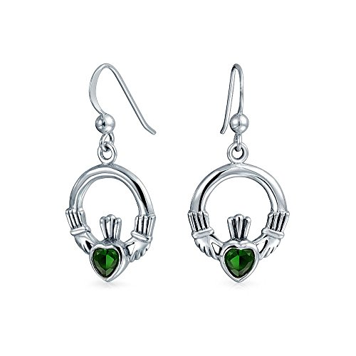 Bling Jewelry Celtic Simulated Emerald Glass Claddagh Earrings 925 Silver