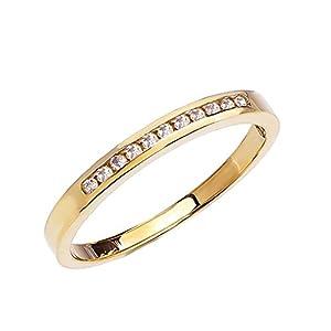 10k Yellow Gold Channel-Set Diamond Wedding Band (Size 6.25)