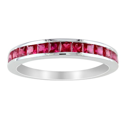 Sterling Silver 3/4 CT TGW Created Ruby Eternity Ring