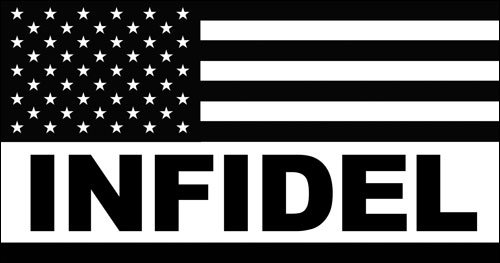 Black and White USA Flag with INFIDEL Sticker (decal military pro america) (America Auto Decals compare prices)