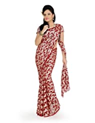 Designersareez Women Georgette Jacquard Printed Maroon Saree With Unstitched Blouse(723)