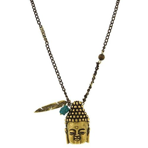 1928 Jewelry T.R.U. Matte Golden Tone Buddha Penda…