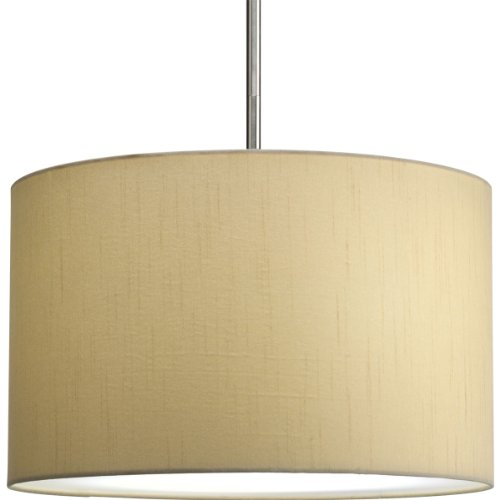 Progress Lighting P8823-01 16-Inch Drum Shade, Beige Silken Fabric with Full Modular Pendant Requires 1?Light Stem (P5198) or 3?Light Stem (P5199) to Make Complete Fixture