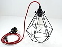 Vintage Industrial Black Diamond Pendant Wire Cage Desk Lamp & Edison Filament Bulb by Vendimia Lighting Co.