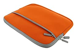 rooCASE Neoprene Netbook Sleeve Case Cover for Acer Aspire One 10.1-Inch AOHAPPY-1101 Netbook (Invisible Zipper Dual-Pocket - (Orange)