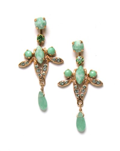 Dashing Earrings from 'Green Serenity' 2013 Collection by Israeli Amaro Jewelry Studio Embellished with Tear Drops, Green Aventurine, Variscite, Lime Chrysophase, Yellow Turquoise, Olive Jade and Swarovski Crystals; 24K Rose Gold Plated