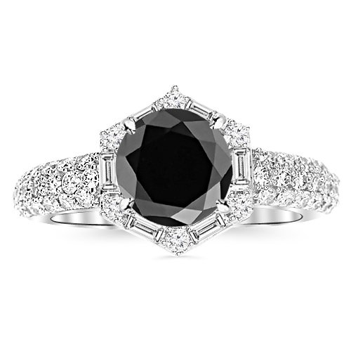 1.3 Carat Vintage/Antique Baguette And Round Halo Hexagon Diamond Engagement Ring 14K White Gold With A 0.75 Carat Round Cut Aaa Quality Black Diamond (Heirloom Quality)