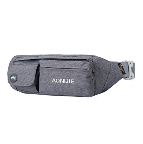 orrinsports-4-zippers-waterproof-nylon-fanny-pack-with-adjustable-belt-for-sports-activities-gray