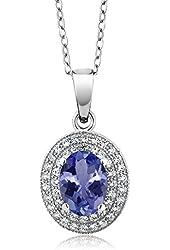 2.65 Ct Oval Blue Tanzanite AAAA 925 Sterling Silver Pendant
