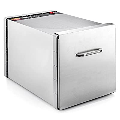 STX DEHYDRA 600W-SST 600 Watt 10 Tray 100% Stainless Steel Food & Jerky Dehydrator - 40 Hour Timer by STX INTERNATIONAL