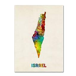 Trademark Fine Art Israel Watercolor Map Artwork by Michael Tompsett, 35 by 47-Inch