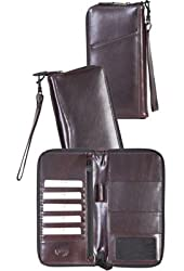 Scully Accessories Walnut Italian Leather Organizer Travel Wallet