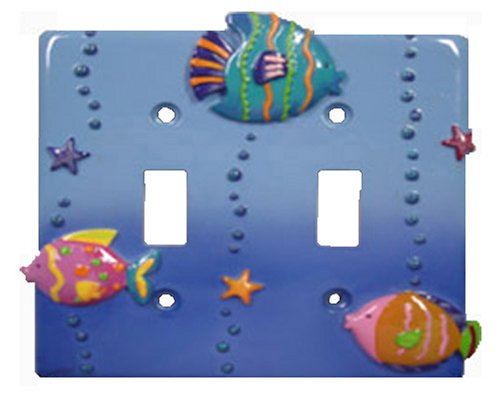 Fish Playground Decorative Switchplate Double toggle switch plate cover