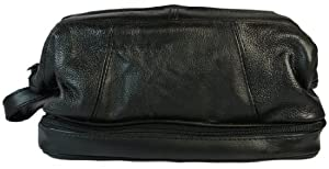 Mens Shaving Bag Black Leather Double Compartment Toiletry Bag
