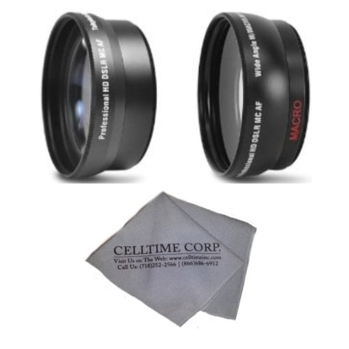 52Mm 2.2X Telephoto And 0.43X Wide Angle High Definition Lenses For Nikon Dslr (D5200 D5100 D5000 D3200 D3100 D3000) + Celltime Lens Cleaning Cloth
