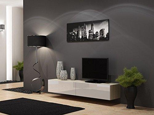TV-Board-Lowboard-Migo-Hngeschrank-Wohnwand-180cm-Sonoma-Eiche-Matt-Wei-Hochglanz