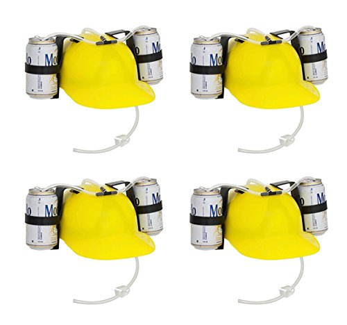EZ Drinker Beer & Soda Guzzler Helmet Drinking Hat (4 Pack), Yellow