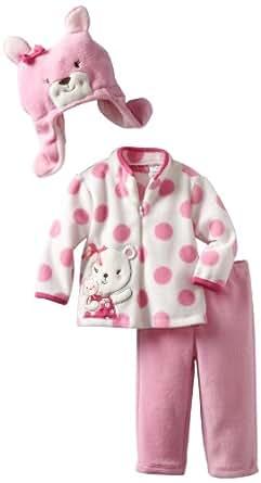 Young Hearts Baby Girls' 3 Piece Bear Micro Polar Fleece Pant Set, Light Pink/Pastel, 12 Months