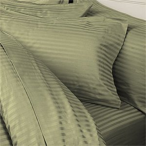 7PCS Queen Size Striped Sage 600TC bedding set including 4pc sheet set+ 3pc duvet cover set 100% Egyptian Cotton